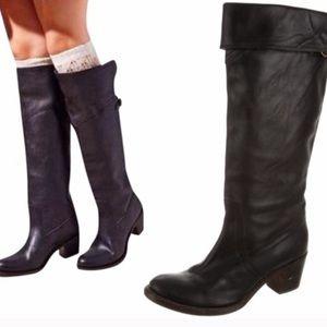 Frye black leather heeled boots size 7 1/2 Jane